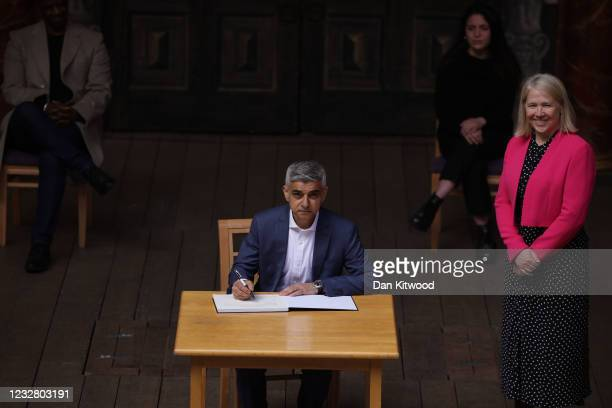 Mayor of London Sadiq Khan attends his swearing in ceremony at Shakespeare's Globe next to Mary Harpley, chief officer of the GLA on May 10, 2021 in...