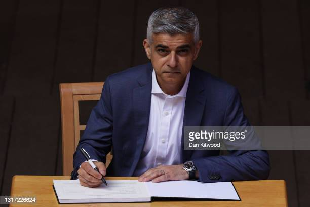 Mayor of London Sadiq Khan attends his swearing in ceremony at Shakespeare's Globe on May 10, 2021 in London, England. Mr Khan won a second term in...