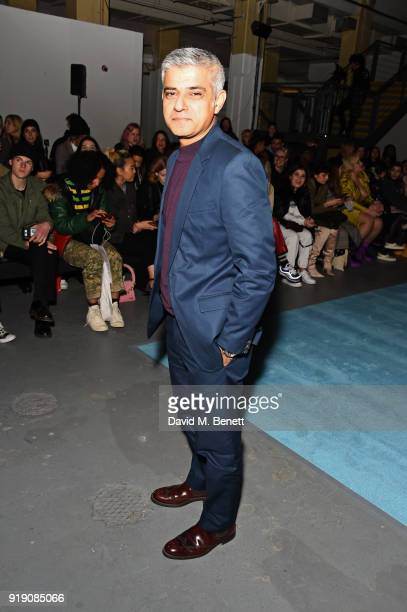 Mayor of London Sadiq Khan attends the Ashley Williams show during London Fashion Week February 2018 at Ambika P3 on February 16 2018 in London...