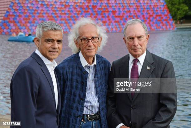 Mayor of London Sadiq Khan Christo and Michael Bloomberg attend a predrinks reception ahead of the annual Serpentine Summer Party in partnership with...