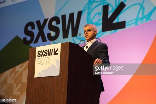 Mayor of London Sadiq Khan delivers a keynote speech at Austin Convention Center on March 12 2018 in Austin Texas