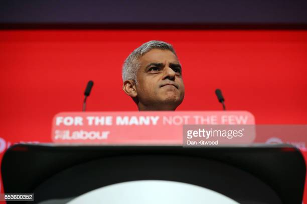 Mayor of London Sadiq Khan delivers his keynote speech in the main hall during day two of the Labour Party Conference on September 25 2017 in...