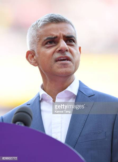 Mayor of London Sadiq Khan gives a speech prior to the start of the IAAF World Athletics Championships at the London Stadium on August 4 2017 in...
