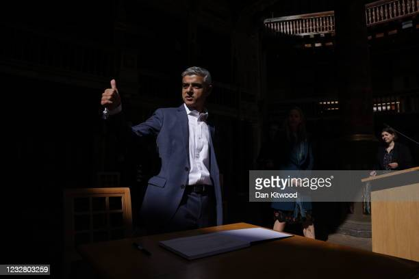 Mayor of London Sadiq Khan gives a thumbs up as he attends his swearing in ceremony at Shakespeare's Globe on May 10, 2021 in London, England. Mr...