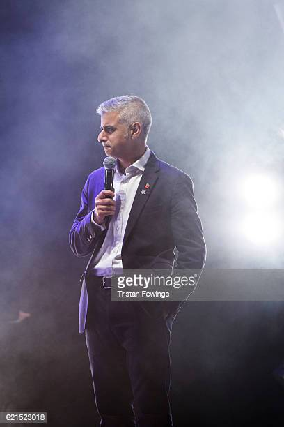 Mayor of London Sadiq Khan introduces Craig David as he switches on the Oxford Street Christmas Lights at Oxford Street on November 6 2016 in London...