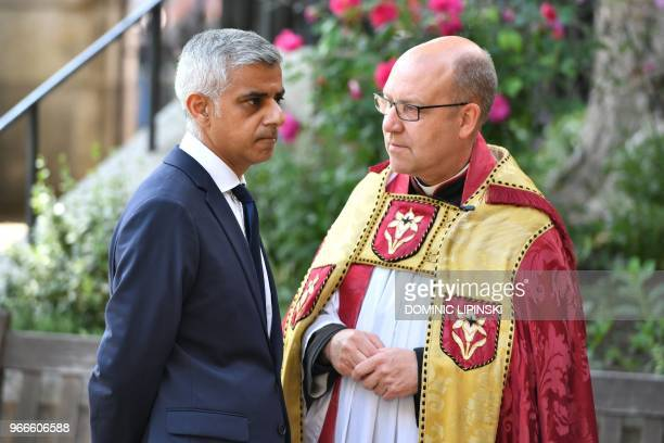 Mayor of London Sadiq Khan is greeted by the Dean of Southwark Andrew Nunn on her arrival for a Service of Commemoration on the first anniversary of...