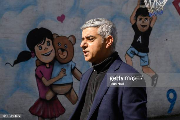 Mayor of London Sadiq Khan is interviewed during a campaign visit to Fairfield Play Centre on April 06, 2021 in London, England. Mr Khan is running...