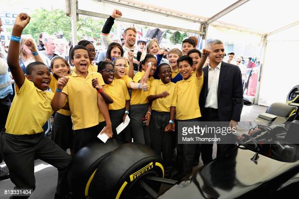 Mayor of London Sadiq Khan Jenson Button MBE former Formula 1® racing driver Susie Wolff OBE the founder of Dare to be Different and children from St...