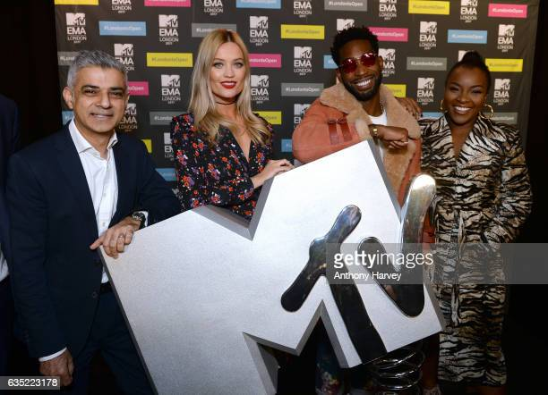 Mayor of London Sadiq Khan Laura Whitmore Tinie Tempah and Ray BLK at a photocall to announce London as the host city for the 2017 MTV EMA's at MTV...