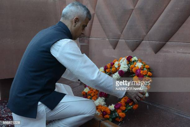 Mayor of London Sadiq Khan lays a wreath as he pays tribute at Jallianwala Bagh in Amritsar on December 6 2017 The Jallianwala Bagh massacre which...