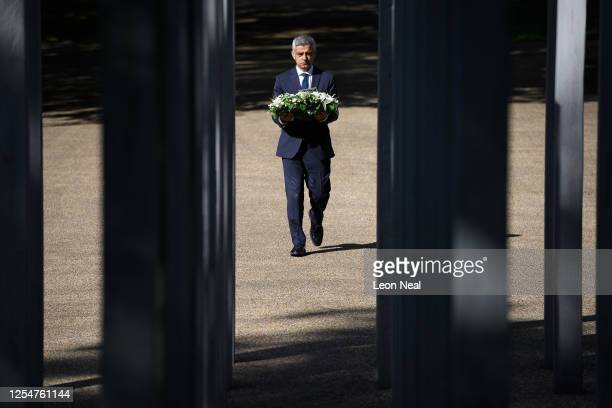 Mayor of London Sadiq Khan lays a wreath at the 7/7 memorial in Hyde Park to mark the fifteenth anniversary of the London bombings on July 07 2020 in...