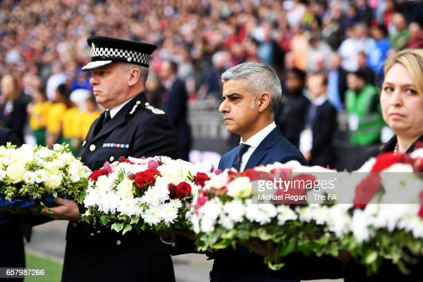 Mayor of London Sadiq Khan lays a wreath to remember those who lost their lives in the recent Westminster terrorist attacks prior to during the FIFA...