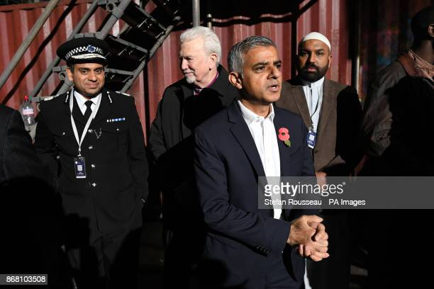 Mayor of London Sadiq Khan meets cast members during a visit to the set of Channel 4's Humans 3 at Barking Power Station Essex where he announced the...