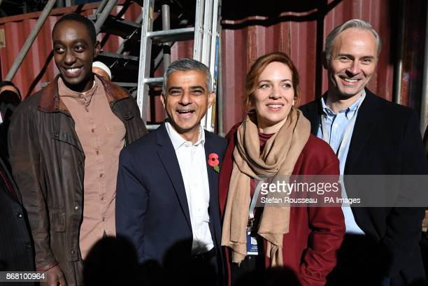 Mayor of London Sadiq Khan meets cast members Ivanno Jeremiah Katherine Parkinson and Mark Bonnar during a visit to the set of Channel 4's Humans 3...