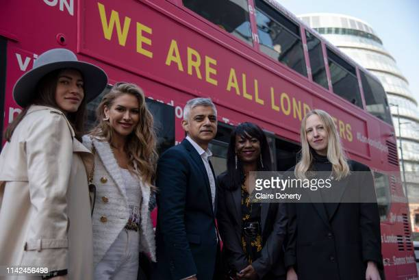 Mayor of London Sadiq Khan poses for photographs with a group of European Londoners including immigration lawyers and volunteers to promote the...