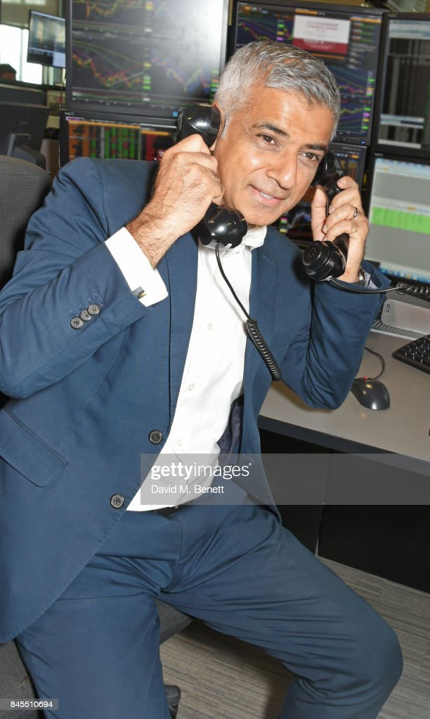 Mayor of London Sadiq Khan, representing The Mayor's Fund for London, makes a trade at BGC Charity Day on September 11, 2017 in London, United Kingdom.