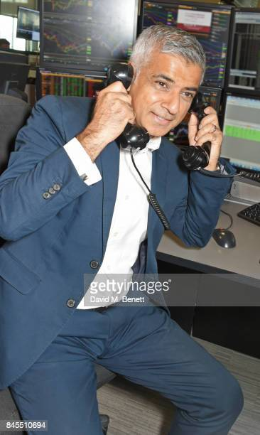 Mayor of London Sadiq Khan representing The Mayor's Fund for London makes a trade at BGC Charity Day on September 11 2017 in London United Kingdom