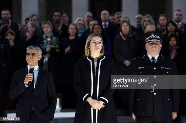 Mayor of London Sadiq Khan speaks as Home Secretary Amber Rudd MP and acting Commissioner of the Metropolitan Police Craig Mackey look on during a...
