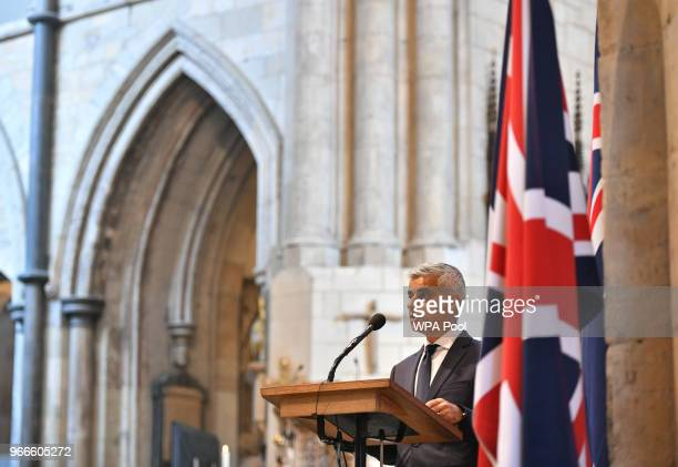 Mayor of London Sadiq Khan speaks at Southwark Cathedral during the first anniversary of the London Bridge terror attack on June 3 2018 in London...