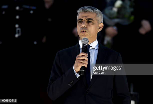 Mayor of London Sadiq Khan speaks during a candlelit vigil at Trafalgar Square on March 23 2017 in London England Four People were killed in...