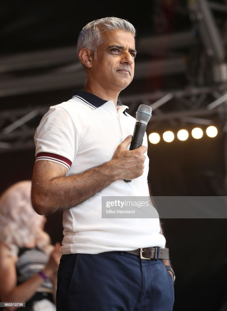 Mayor of London Sadiq Khan speaks on the Trafalgar Square Stage during Pride In London on July 7, 2018 in London, England. It is estimated over 1 million people will take to the streets and approximately 30,000 people and 472 organisations will join the annual parade, which is one of the world's biggest LGBT+ celebrations.