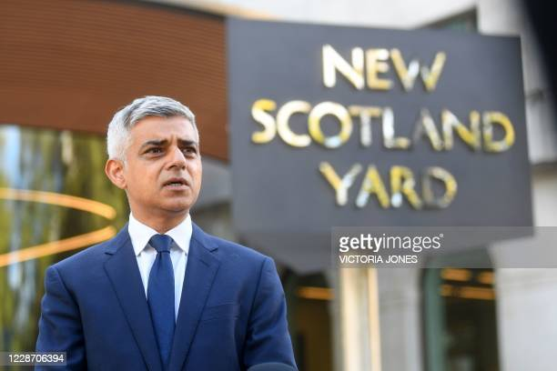 Mayor of London Sadiq Khan speaks to members of the media at Scotland Yard in London on September 25 following the shooting of a British police...