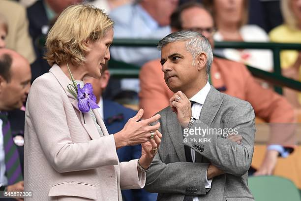 Mayor of London Sadiq Khan speaks with Diana Carney wife of the Governor of Bank of England in the royal box on centre court before the men's singles...