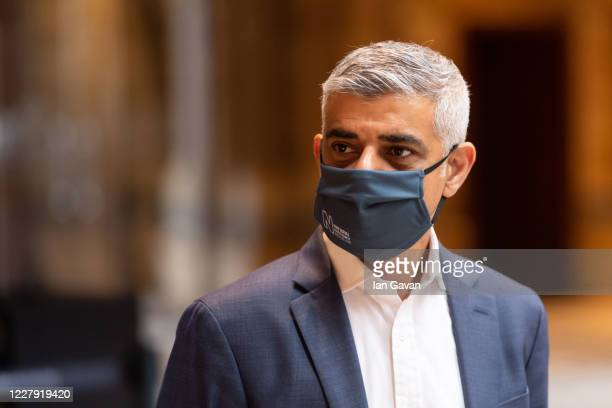 Mayor of London Sadiq Khan tours the lobby before the reopening of the Natural History Museum on August 5, 2020 in London, England. The museum closed...