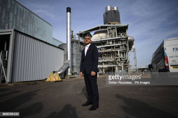 Mayor of London Sadiq Khan visiting the set of Channel 4's Humans 3 at Barking Power Station Essex where he announced the results of a feasibility...