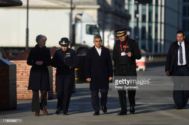 Mayor of London Sadiq Khan visits the scene of yesterday's London Bridge stabbing attack on November 30 2019 in London England A man and a woman were...
