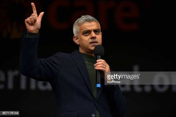 Mayor of London Sadiq Khangives a speech during the March4Women event London on March 4 2018 Demonstrators march through central London today with...