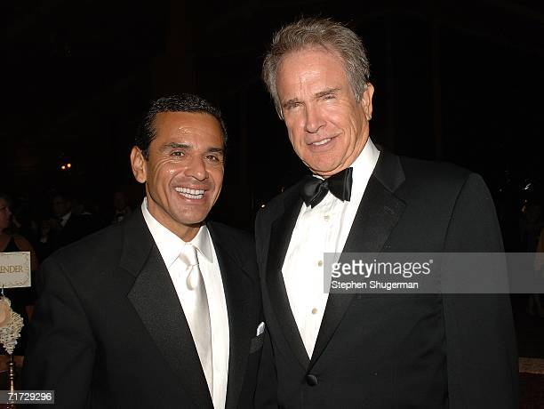 Mayor of Los Angeles Antonio Villaraigosa and actor Warren Beatty attend the HBO Post Emmy Party held at The Plaza at the Pacific Design Center on...