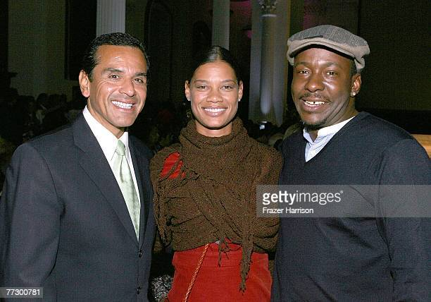 Mayor of Los Angeles Antonio Villaraigosa poses with Alicia Etheredge and singer Bobby Brown at 2008 Spring Collection during Box Eight's Have Faith...