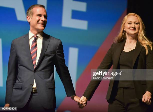 Mayor of Los Angeles Eric Garcetti and Amy Wakeland speak on stage at The United State of Women Summit 2018 Day 1 on May 5 2018 in Los Angeles...