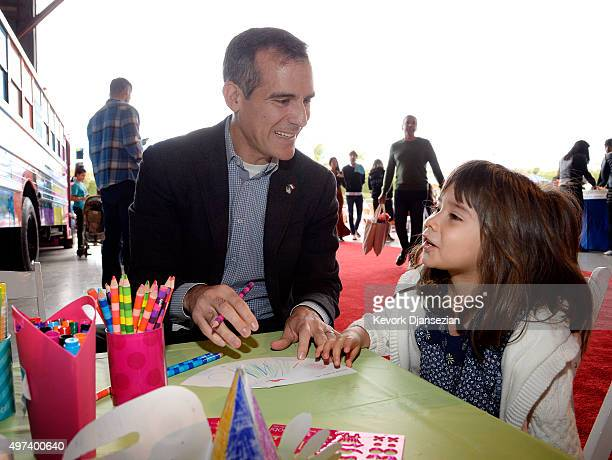 Mayor of Los Angeles Eric Garcetti and daughter Maya attend Express Yourself 2015 to benefit PS ARTS providing arts education to 25000 public school...