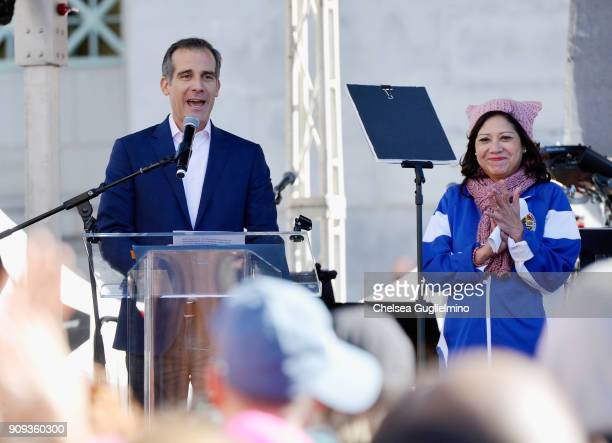 Mayor of Los Angeles Eric Garcetti and LA County Supervisor Hilda Solis onstage during the 2018 Women's March on January 20 2018 in Los Angeles...