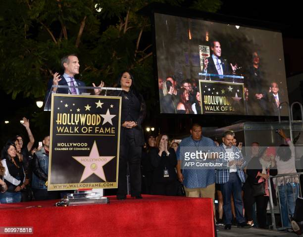 Mayor of Los Angeles Eric Garcetti and Suzette Quintanilla attend the ceremony honoring singer Selena Quintanilla with a Star on the Hollywood Walk...