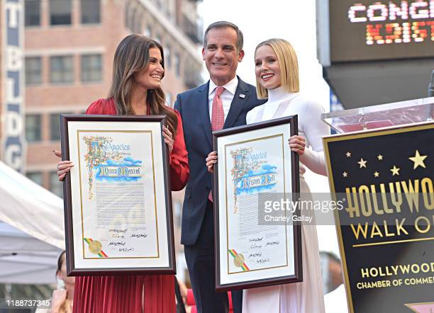 Mayor of Los Angeles Eric Garcetti attends the double Walk of Fame ceremony in Hollywood Calif where Kristen Bell and Idina Menzel from Disney's...