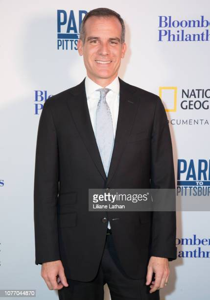 Mayor of Los Angeles Eric Garcetti attends the Premiere of Bloomberg Philanthropies and National Geographic's Paris To Pittsburgh at the Museum Of...