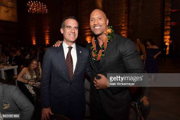 Mayor of Los Angeles Eric Garcetti Dwayne Johnson attends the 2018 LA Family Housing Awards at The Lot in West Hollywood on April 5 2018 in West...