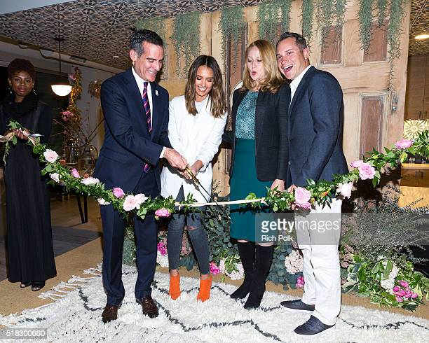 Mayor of Los Angeles Eric Garcetti Honest Company Founder Jessica Alba Amy Wakeland and CoFounder and Chief Operating Officer Sean Kane cut the...