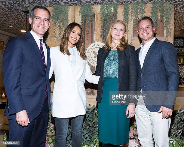 Mayor of Los Angeles Eric Garcetti Honest Company Founder Jessica Alba Amy Wakeland and CoFounder and Chief Operating Officer Sean Kane on stage at...