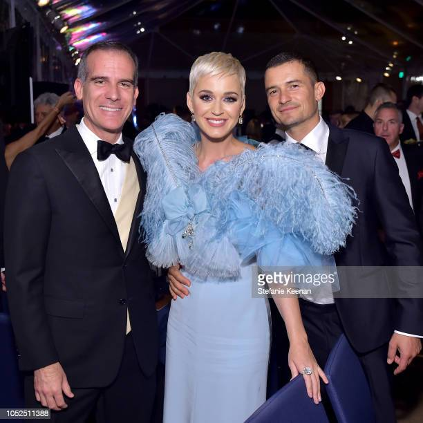 Mayor of Los Angeles Eric Garcetti, Katy Perry, and Orlando Bloom attend the amfAR Gala Los Angeles 2018 at Wallis Annenberg Center for the...