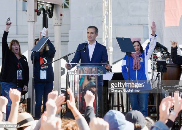 Mayor of Los Angeles Eric Garcetti speaks during the Women's March Los Angeles 2018 on January 20 2018 in Los Angeles California