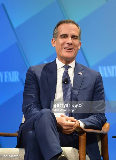 Mayor of Los Angeles Eric Garcetti speaks onstage at Day 2 of the Vanity Fair New Establishment Summit 2018 at The Wallis Annenberg Center for the...
