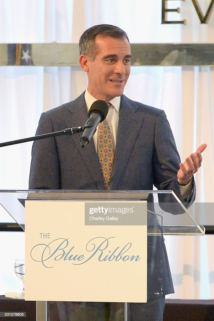 Mayor of Los Angeles Eric Garcetti speaks onstage during the Blue Ribbon of the Los Angeles Music Center honoring Princess Charlene of Monaco at Grand Hall at the Dorothy Chandler Pavililon on May 12, 2016 in Los Angeles, California.