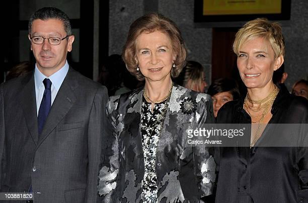 Mayor of Madrid Alberto Ruiz Gallardon Queen Sofia of Spain and Sonsoles Espinosa attend Real Theatre Opera opening season on September 7 2010 in...