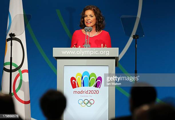 Mayor of Madrid Ana Botella speaks during the Madrid 2020 bid presentation during the 125th IOC Session 2020 Olympics Host City Announcement at...