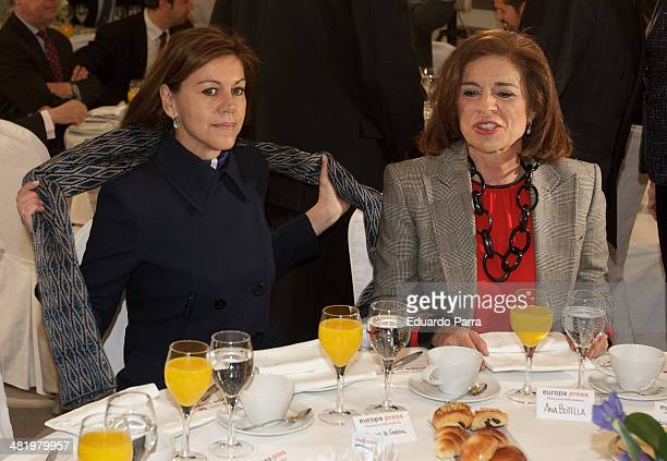 Mayor of Madrid Ana Bottella and secretary general of the Popular Party Maria Dolres de Cospedal attend 'Breakfast with Europa Press' conference at...
