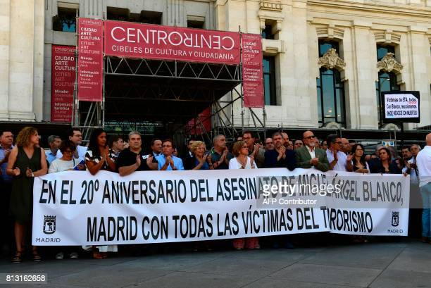 Mayor of Madrid Manuela Carmena and city hall councillors pay tribute to the slain Basque Popular Party councillor Miguel Angel Blanco marking the...